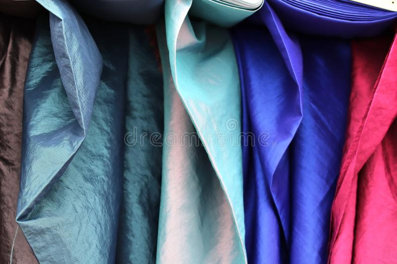 Detailed close up view on textile and fabric textures found at a local textile market. In germany stock image
