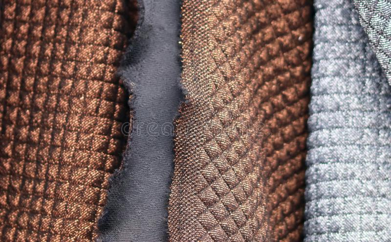 Detailed close up view on textile and fabric textures found at a local textile market. In germany stock photo