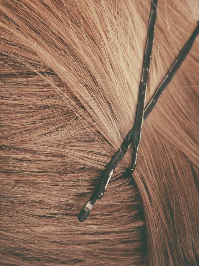 Detailed closeup of brown hair with clips. Detailed close up of brown, dark blonde hair in ponytail with clips. Hairdo surface royalty free stock photo