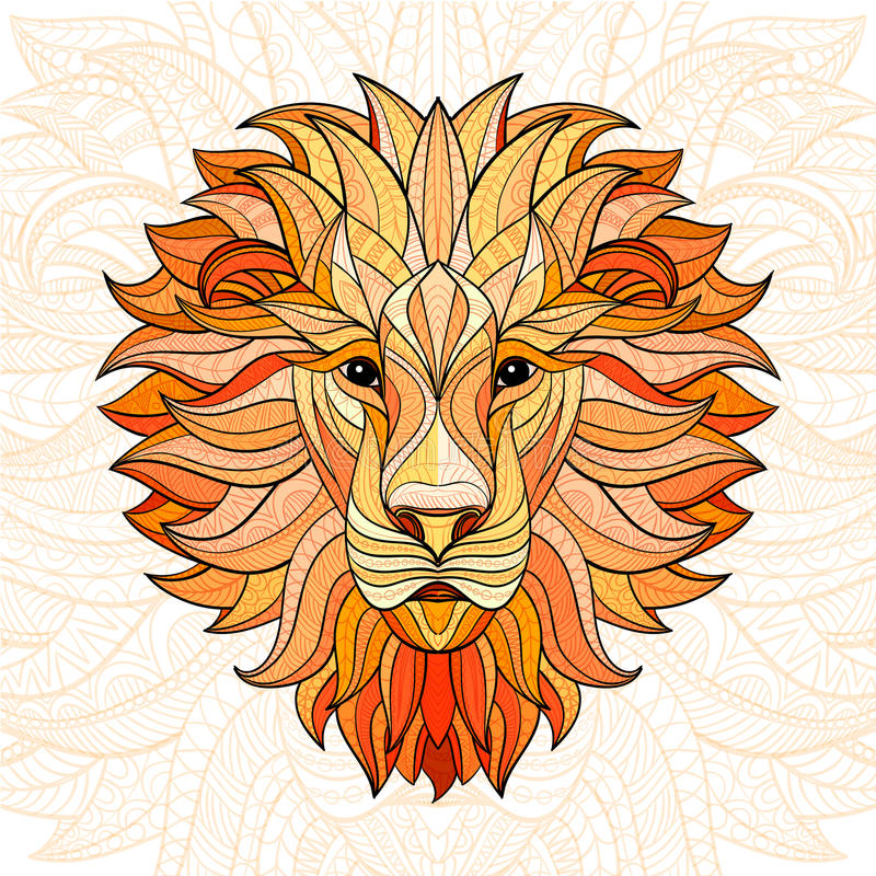 Detailed colored Lion in aztec style vector illustration