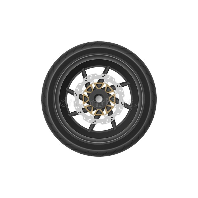 Detailed drawing of motorcycle wheel. Realistic image of detail of bike. Part of vehicle mechanism. Vector illustrationn stock illustration
