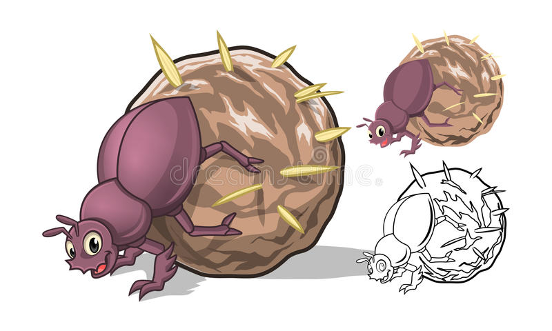 Detailed Dung Beetle Cartoon Character with Flat Design and Line Art Black and White Version stock photos