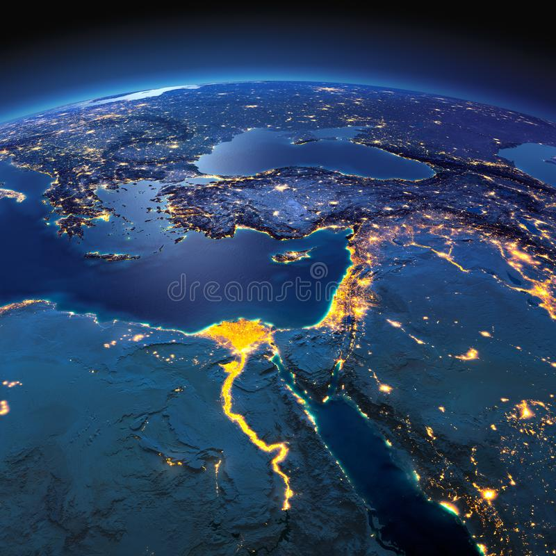 Detailed Earth. Africa and Middle East on a moonlit night royalty free illustration