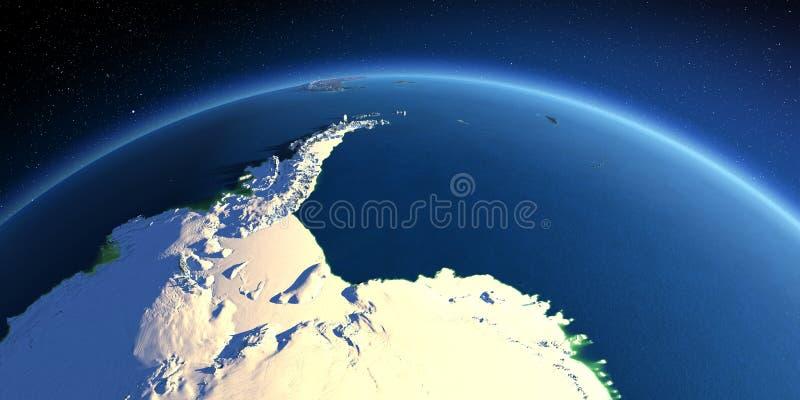 Detailed Earth. Antarctica. Antarctica. Antarctic Peninsula, Weddell Sea and ice shelves vector illustration