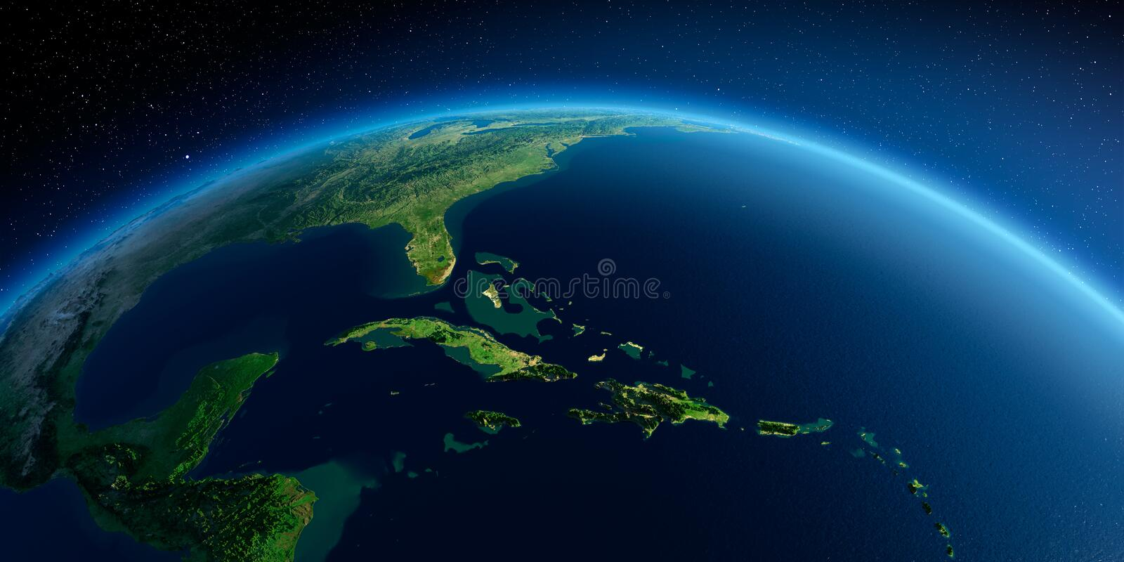 Detailed Earth. Caribbean Sea and the Gulf of Mexico. Highly detailed planet Earth in the morning. Exaggerated precise relief lit morning sun. Detailed Earth stock illustration