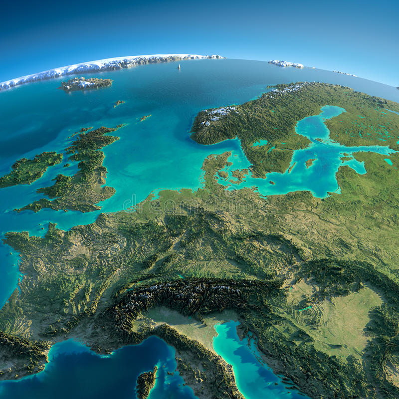 Detailed Earth. Central Europe vector illustration