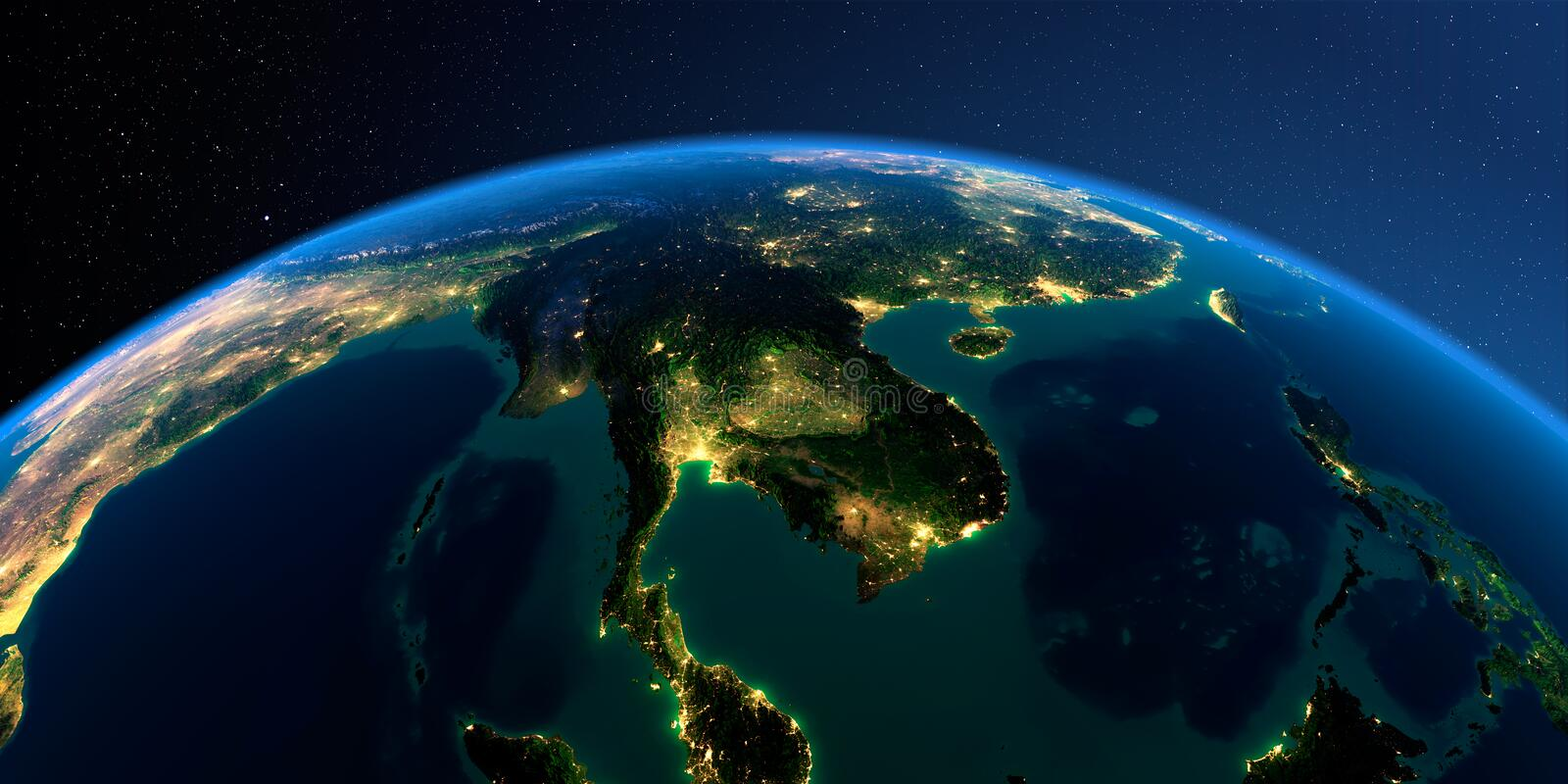 Detailed Earth. Indochina peninsula on a moonlit night vector illustration