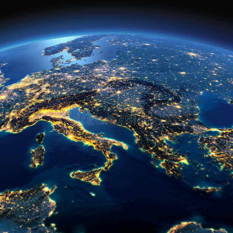 Detailed Earth. Italy, Greece and the Mediterranean Sea on a moo. Night planet Earth with precise detailed relief and city lights illuminated by moonlight. Italy vector illustration