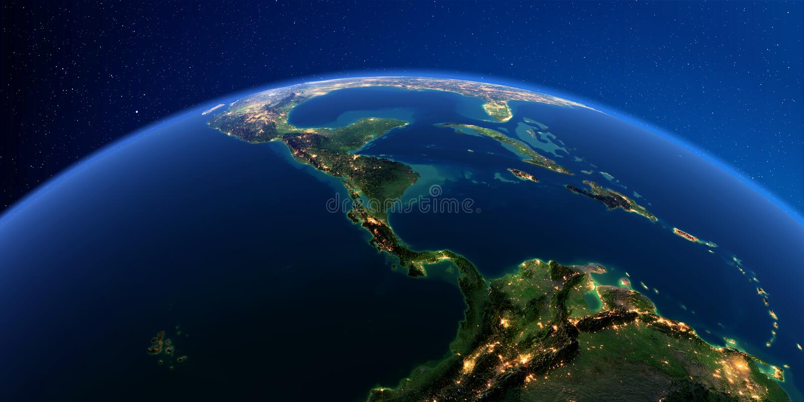 Detailed Earth at night. The countries of Central America stock illustration