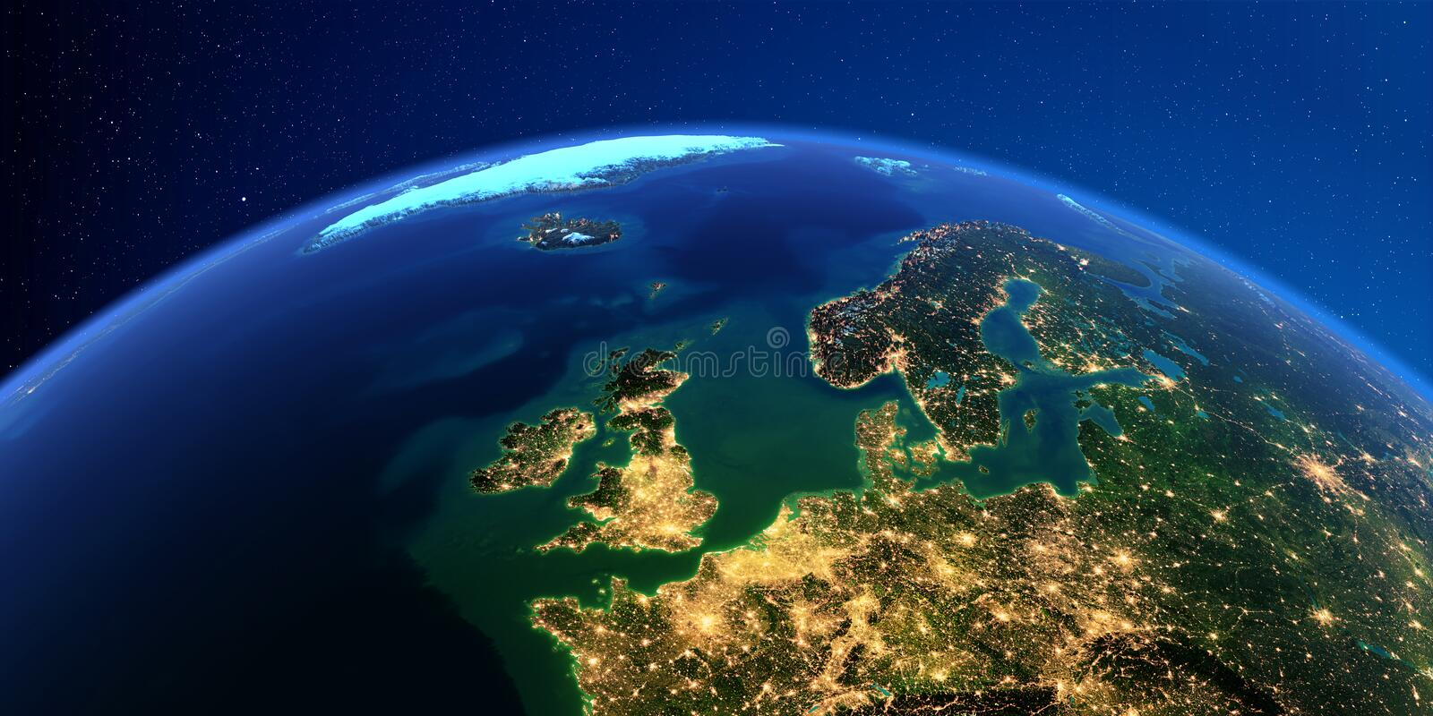 Detailed Earth at night. Europe. United Kingdom and the North Sea vector illustration