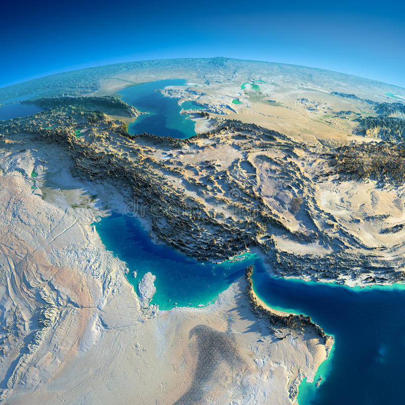 Detailed Earth. Persian Gulf stock illustration