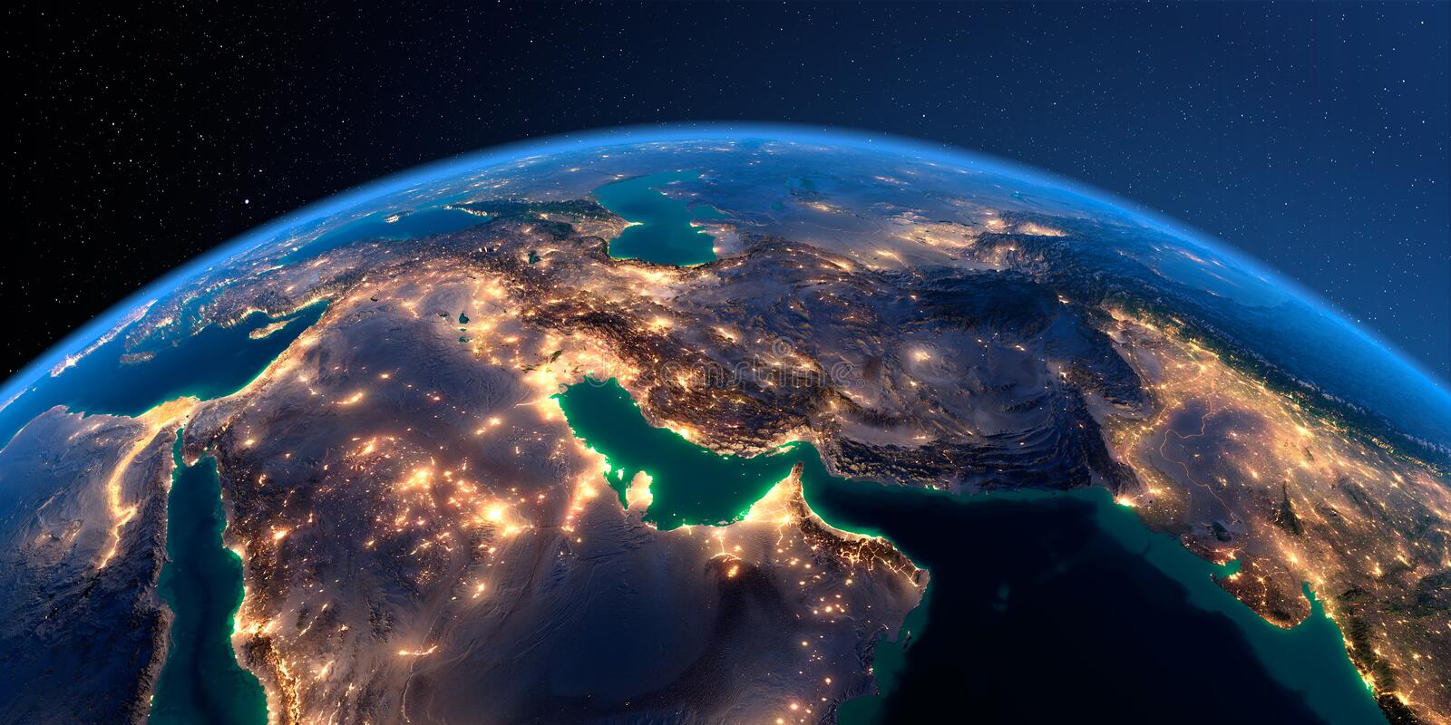 Detailed Earth. Persian Gulf on a moonlit night stock illustration