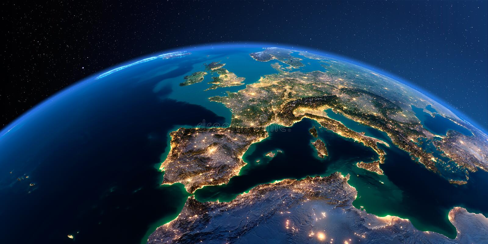 Detailed Earth. Spain and the Mediterranean Sea stock illustration