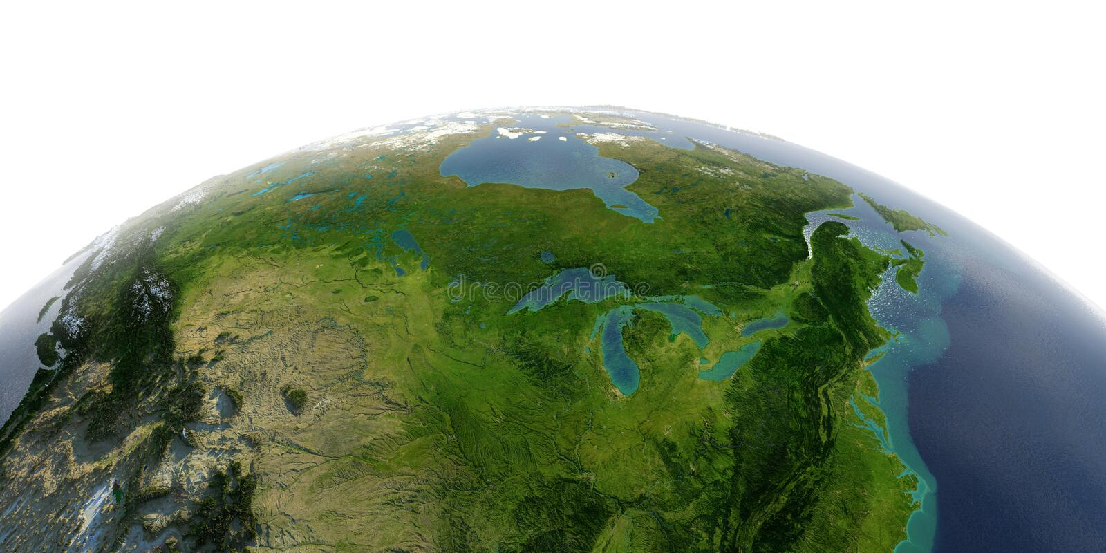 Detailed Earth on white background. North America. United States and Canada. Great Lakes. Highly detailed planet Earth with exaggerated relief and transparent stock illustration