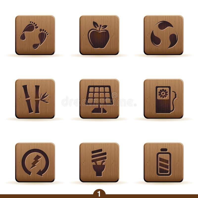 Detailed ecology icons stock illustration