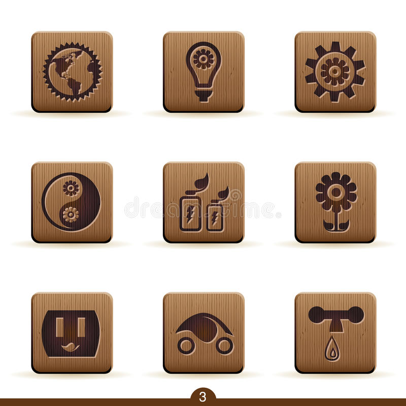 Detailed ecology icons royalty free illustration