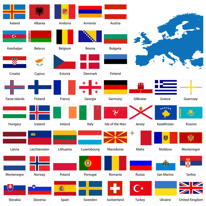 Detailed European flags and ma vector illustration