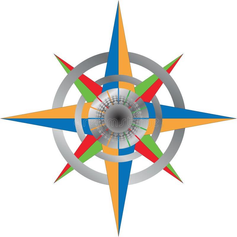 detailed färgrik kompass vektor illustrationer