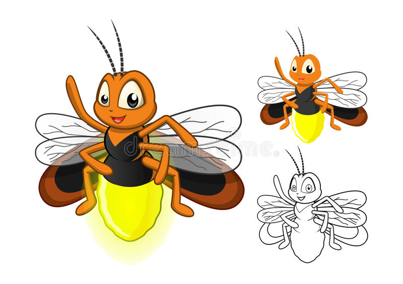 Detailed Firefly Cartoon Character with Flat Design and Line Art Black and White Version royalty free stock image