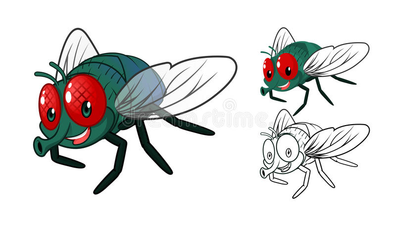 Detailed Fly Cartoon Character with Flat Design and Line Art Black and White Version. High Quality Detailed Fly Cartoon Character with Flat Design and Line Art stock illustration