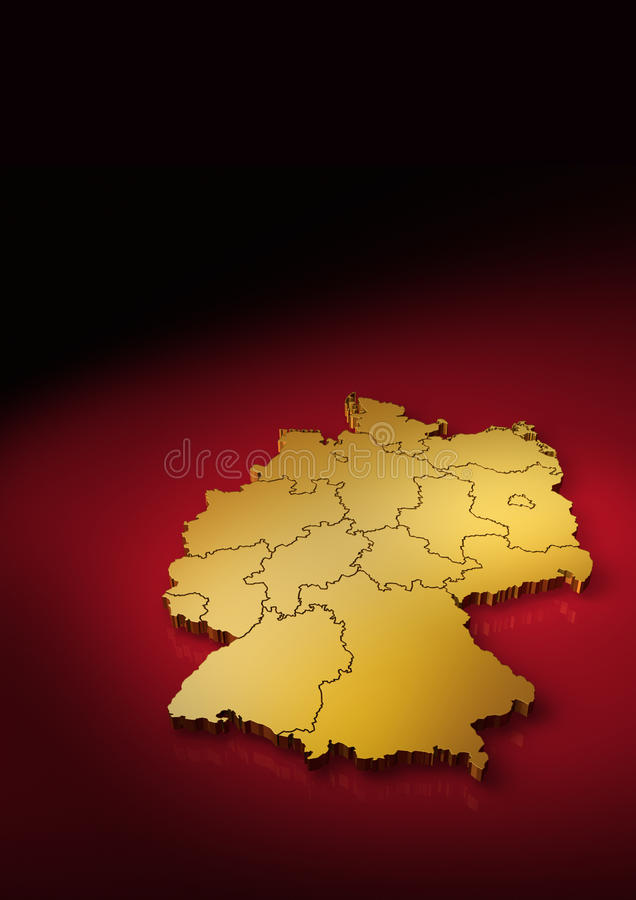 Detailed German Map Vertical Stock Photo