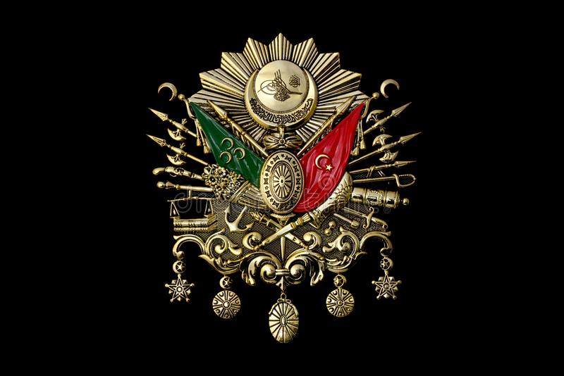 Gold Emblem of Ottoman Empire. Detailed Gold Emblem of Ottoman Empire stock photo