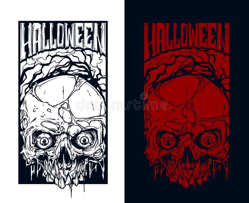 Detailed graphic red and white halloween skulls vector illustration