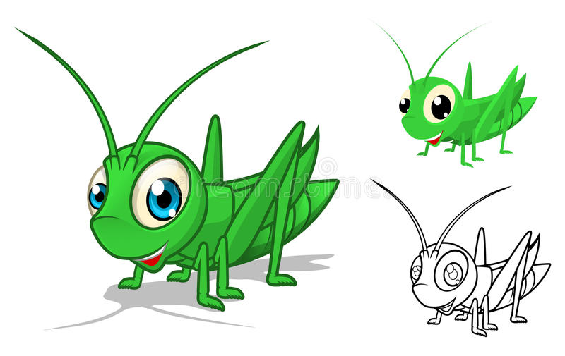 Detailed Grasshopper Cartoon Character with Flat Design and Line Art Black and White Version vector illustration