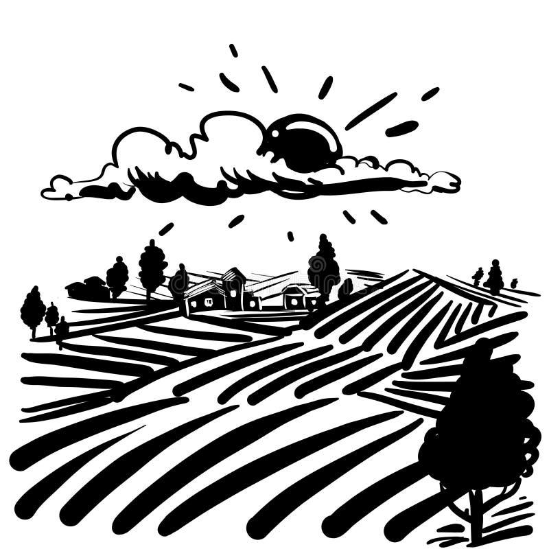 Farmfield Landscape:  Farm Field Graphic Art Black White Landscape Illustration