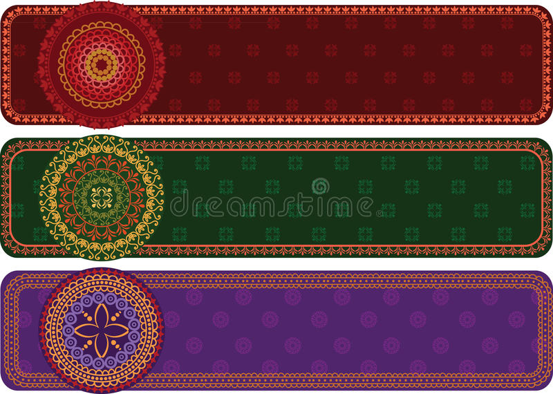 Download Detailed Henna Banners stock vector. Image of decor, motif - 21822304