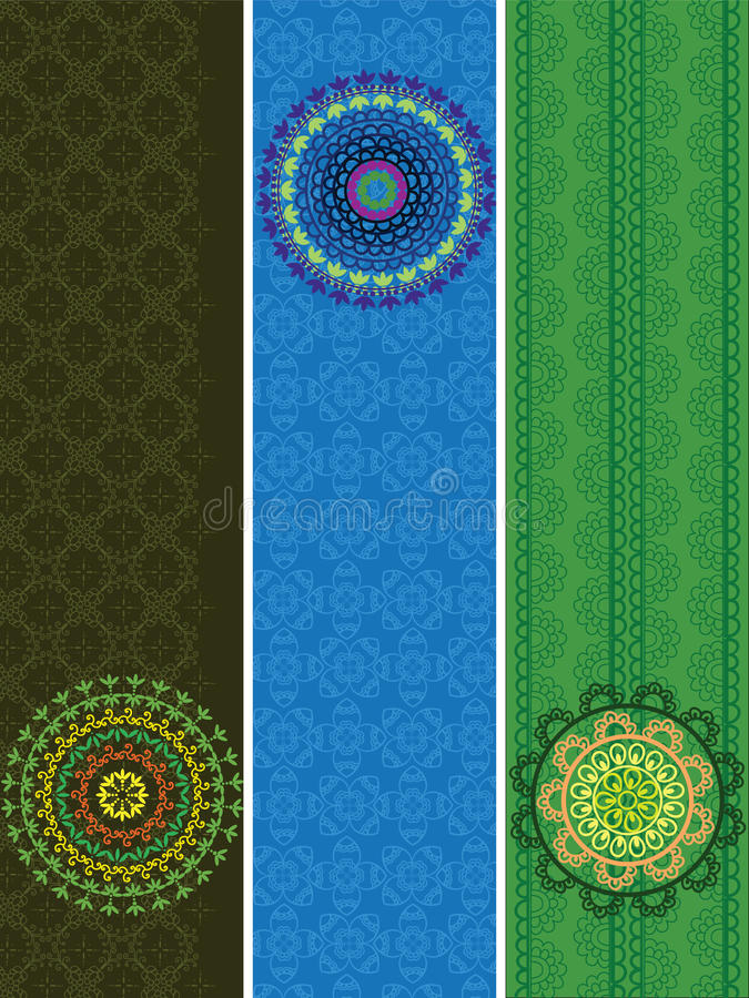 Download Detailed Henna Banners With Mandala Stock Illustration - Image: 21895913