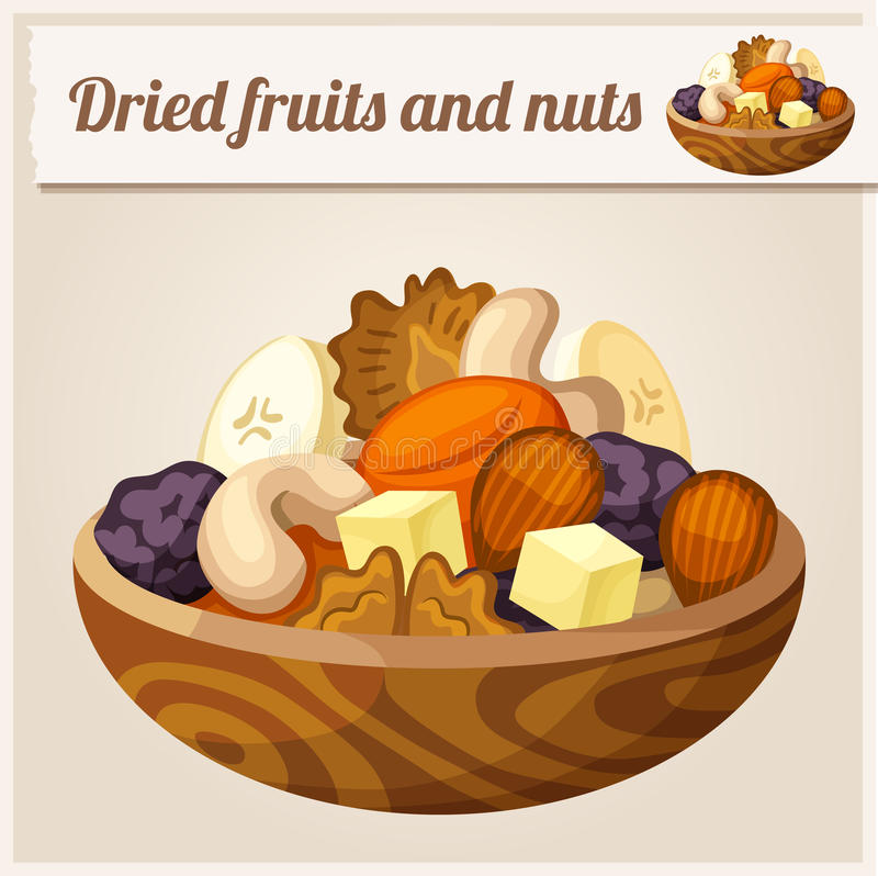 Detailed Icon. Dried fruits and nuts. Cartoon vector illustration royalty free illustration