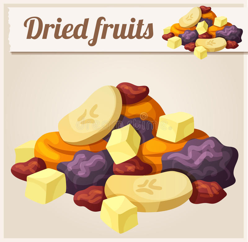 Detailed Icon. Dried fruits. Series of food and drink and ingredients for cooking vector illustration