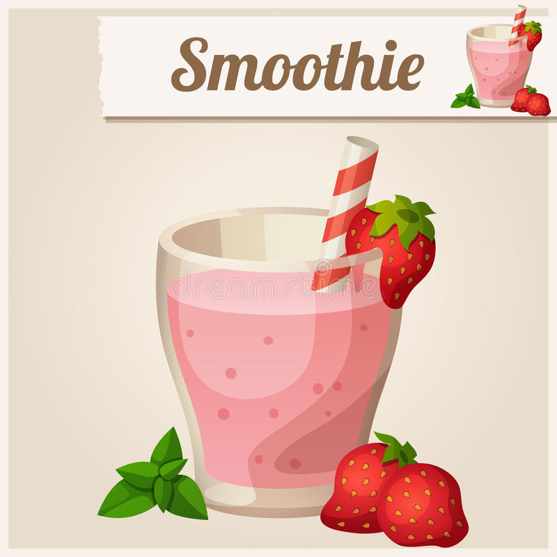 Detailed Icon. Strawberry smoothie. stock illustration