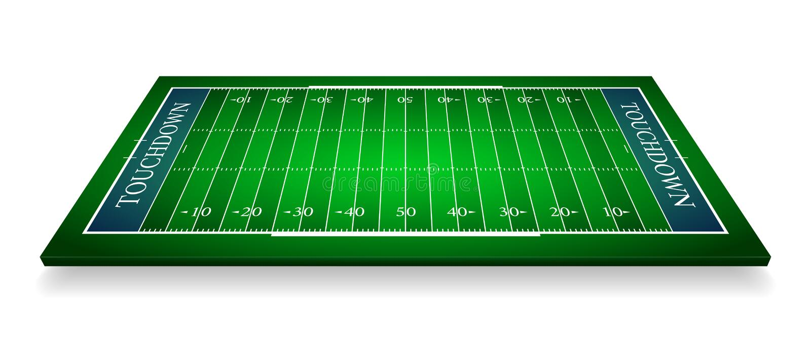 Detailed illustration of an American Football fields with perspective, eps10 vector.  royalty free illustration