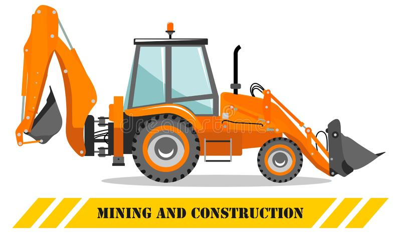 Backhoe loader. Detailed illustration of heavy mining machine and construction equipment. Vector illustration. Detailed illustration of backhoe loader. Heavy royalty free illustration