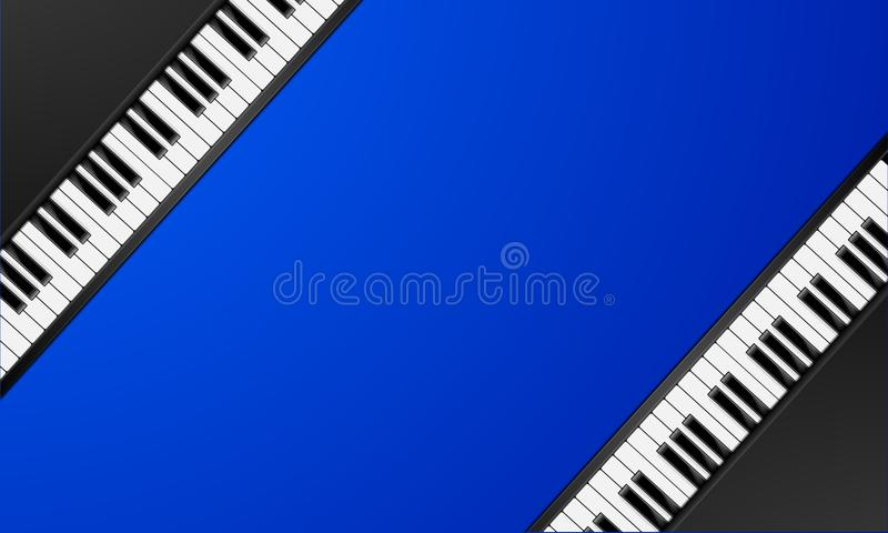 Piano keys frame. Detailed illustration of a blue background with diagonal piano keys, classic music concept vector illustration