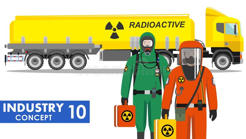 Industry concept. Detailed illustration of cistern truck carrying chemical, radioactive, toxic, hazardous substances and. Detailed illustration of cistern truck royalty free illustration
