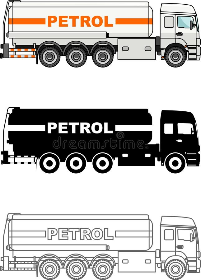 Detailed illustration of classic gasoline trucks vector illustration