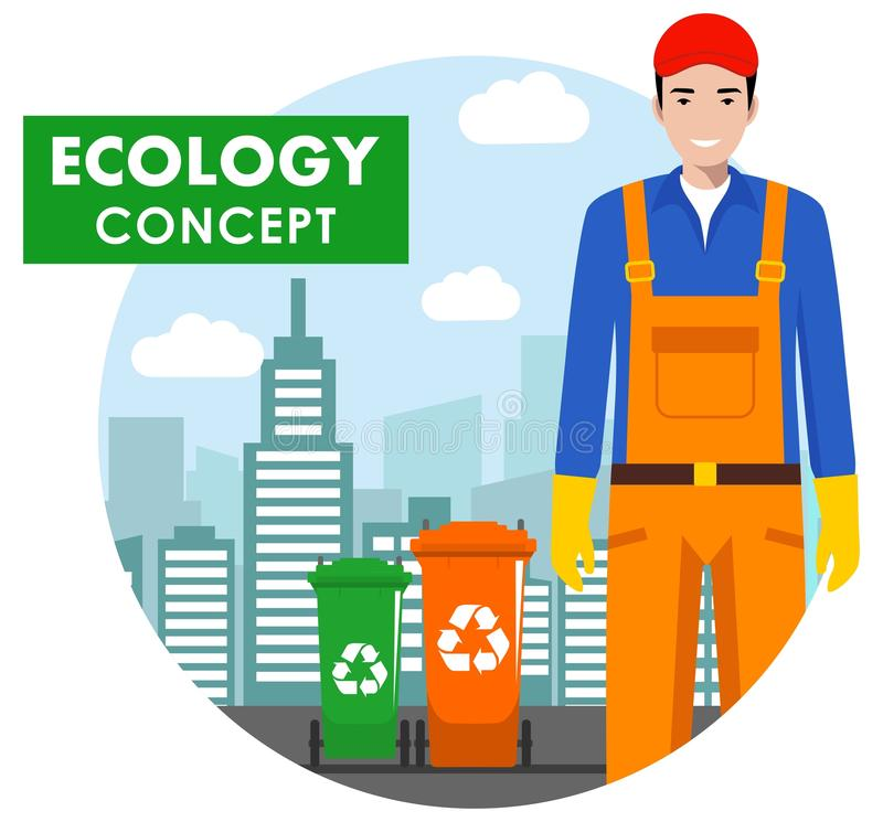 Ecology concept. Detailed illustration of garbage man in uniform and dumpsters on modern cityscape background in flat vector illustration