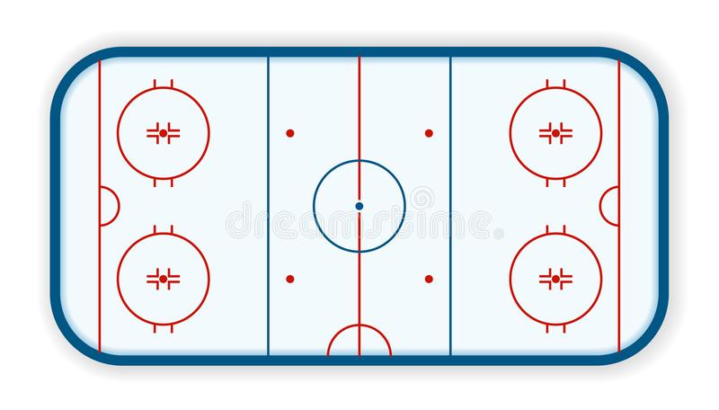 Detailed illustration of a icehockey rink, field, court, eps10 vector.  royalty free illustration