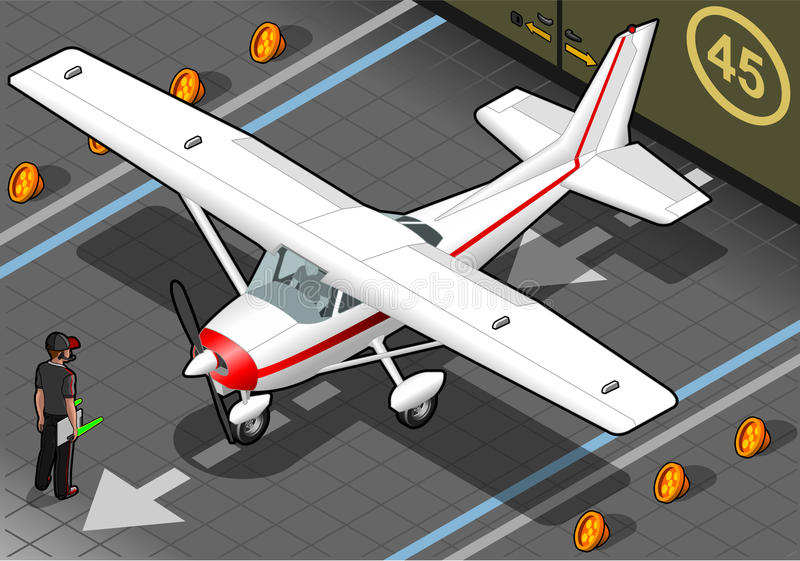 Isometric White Plane in Front View stock illustration