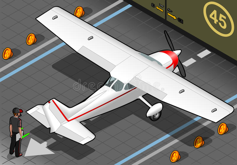 Isometric White Plane in Rear View royalty free illustration