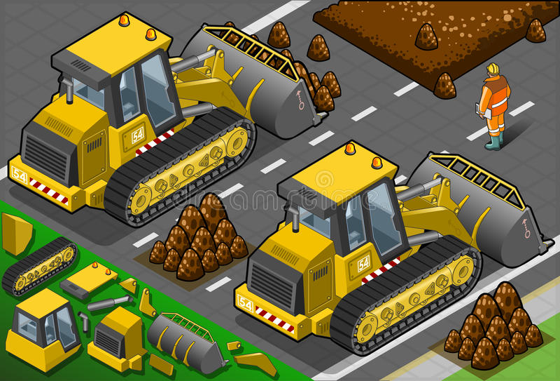 Isometric Yellow Bulldozer In Rear View Stock Image