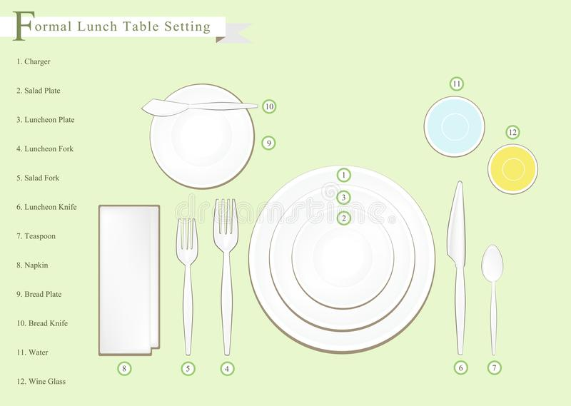 Download Detailed Illustration Of Lunch Table Setting Diagram Stock Vector - Illustration of glass full  sc 1 st  Dreamstime.com & Detailed Illustration Of Lunch Table Setting Diagram Stock Vector ...