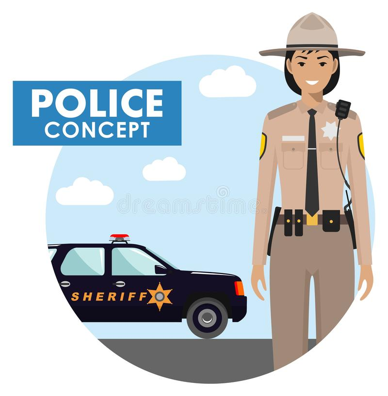 Policeman concept. Detailed illustration of sheriff in uniform on background with police car in flat style. Vector stock illustration