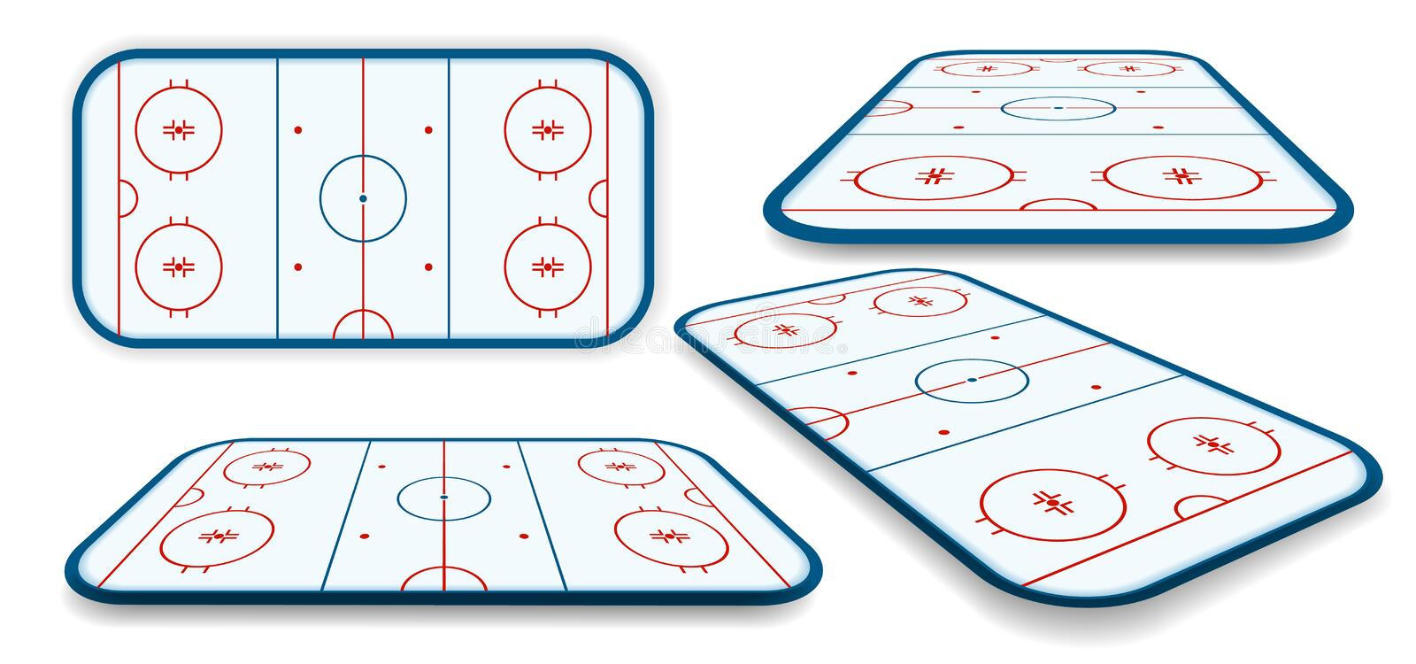 Detailed illustration set of a icehockey rink, field, court with different perspectives, eps10 vector.  vector illustration