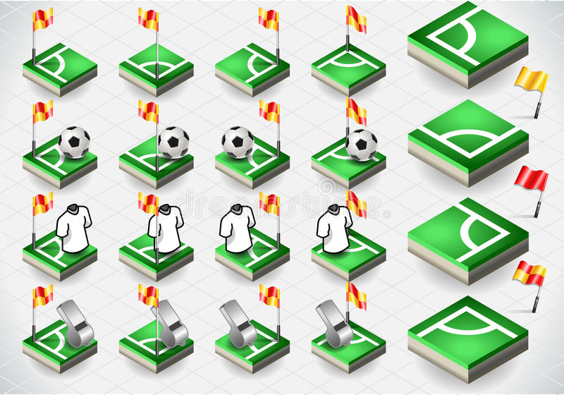 Set of Soccer Corner and Icons vector illustration