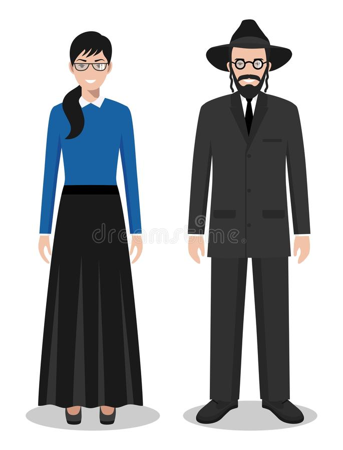 Set of standing together jewish man and woman in the traditional clothing isolated on white background in flat style. Detailed illustration of standing jewish vector illustration