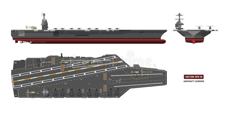 Detailed image of aircraft carrier. Military ship. Top, front and side view. Battleship model. Warship in flat style. Detailed image of aircraft carrier vector illustration